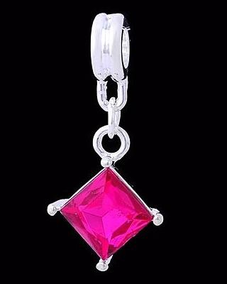 Silverplated danlge Ruit pink