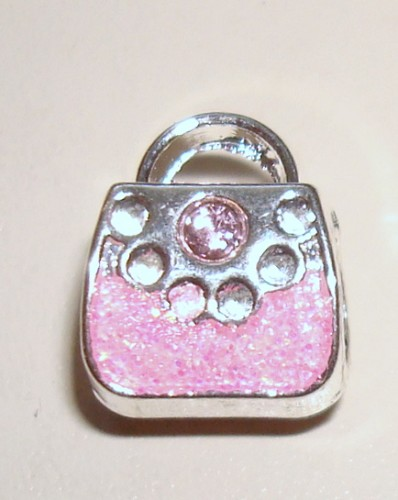 Sterling silverplated bedel Handtasje Roze emaille