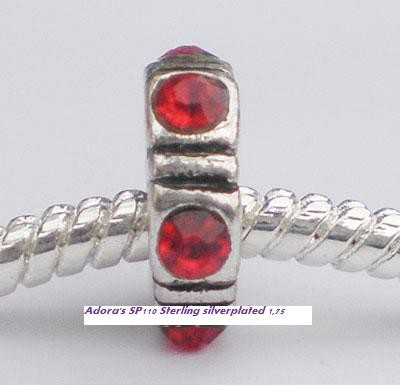 Sterling verzilverde spacer Rood