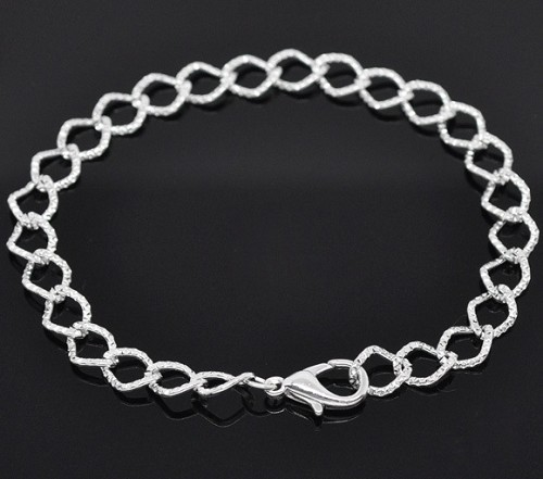 Silverplated schakelarmband 20 cm.