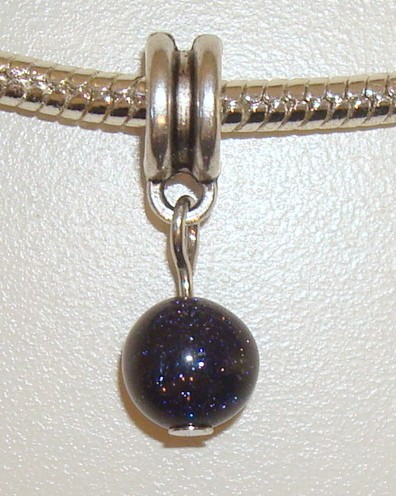 Dangle met natuursteen Blue Goldstone