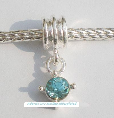 Sterling verzilverde dangle Turquoise strass