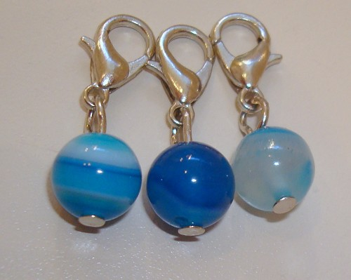 3 charms met Blue Striped agaat