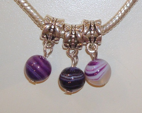3 dangles met Purple Striped agaat