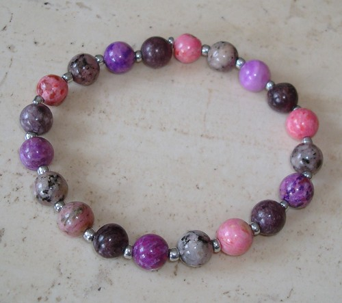 Armband van Crazy agaat in roze-paars mt 20