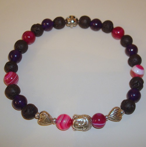 Boeddha-armband in paars-roze
