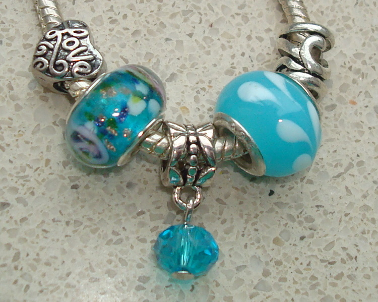 Set turquoise met dangle Love