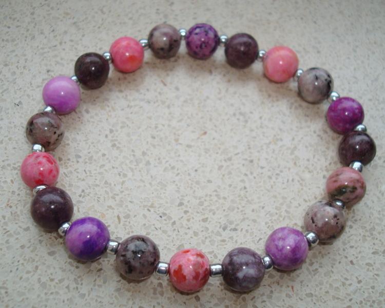 df2fa9da021 Armband van Crazt agaat roze-paars maat 22 Adorabeads Pandora Style ...