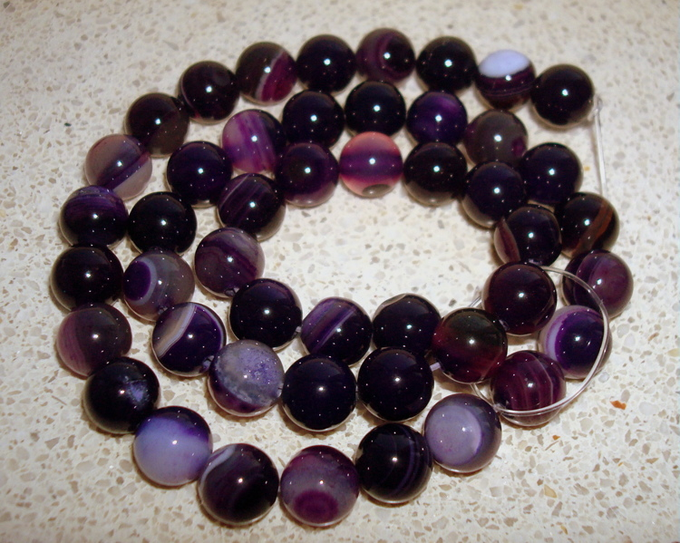 Snoer Striped agaat purple 8 mm