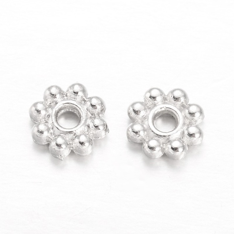 Set van 20 spacers Madelief 5 mm. silverplated