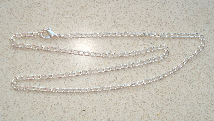 Silverplated schakelketting 45 cm. 5x3 mm