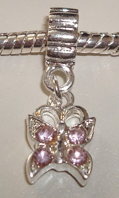 Sterling verzilverde dangle Vlinder met roze strass