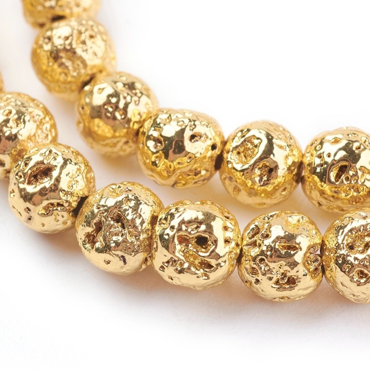 Goldplated lavakraal 4 mm.