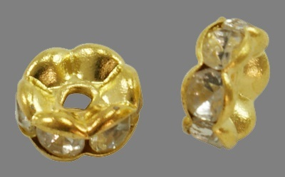 goldplated strassrondel 7 x 3,2 mm A kwaliteit