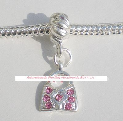 Sterling verzilverde dangle Roze tasje