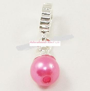 Sterling verzilverde dangle met roze parel