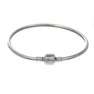 Verzilverde bangle met clipsluiting maat 21