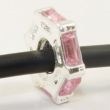 Sterling verzilverde spacer Roze