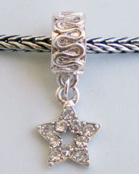 Pandora Style dangle Ster met strass